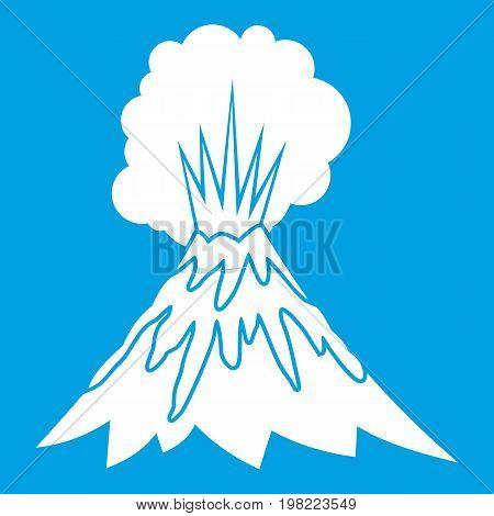 Volcano erupting icon white isolated on blue background vector illustration