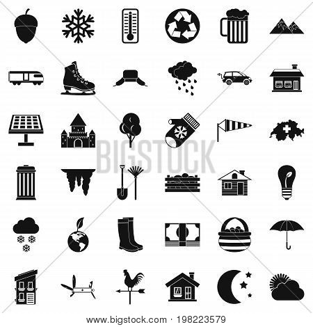 Country life icons set. Simple style of 36 country life vector icons for web isolated on white background
