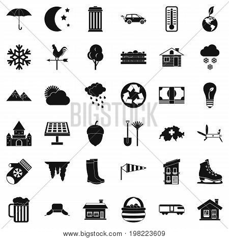 Suburb house icons set. Simple style of 36 suburb house vector icons for web isolated on white background