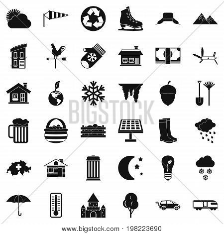 Nature life icons set. Simple style of 36 nature life vector icons for web isolated on white background