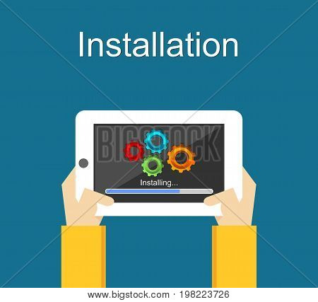 Installation concept illustration. Installation application on smartphone concept. Installation process.