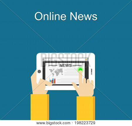 Online news concept illustration. Reading online news on smartphone concept