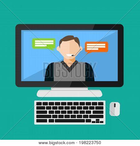 Customer service assistance. Service support, Online support, Call center concept illustration. Flat design.