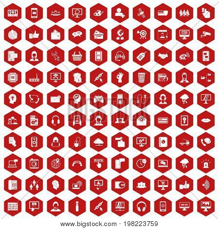 100 contact us icons set in red hexagon isolated vector illustration