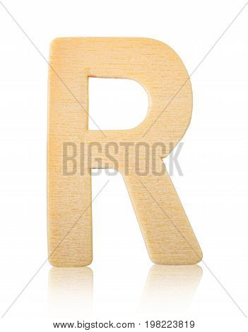Single capital block wooden letter R isolated on white background Save clipping path.