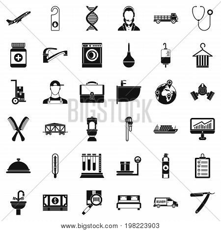 Craft tool icons set. Simple style of 36 carft tool vector icons for web isolated on white background