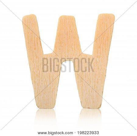 Single capital block wooden letter W isolated on white background Save clipping path.