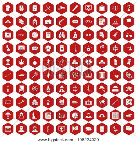 100 crime investigation icons set in red hexagon isolated vector illustration