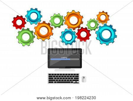 Computer process concept. Technology mechanism concept. Computing. Information system. Operating system