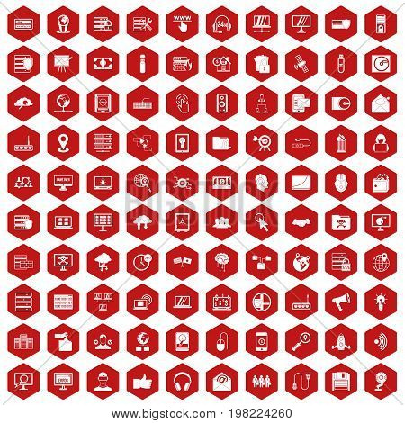 100 cyber security icons set in red hexagon isolated vector illustration