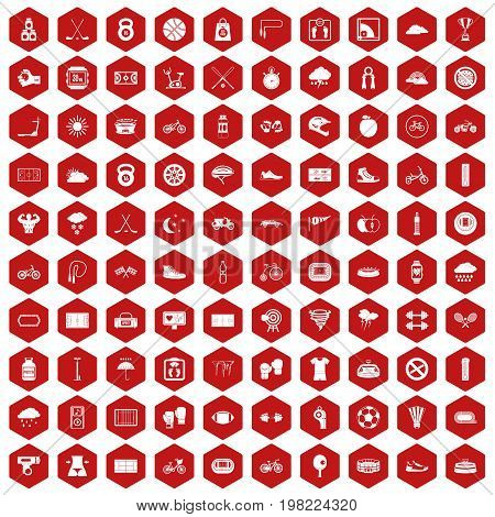 100 cycling icons set in red hexagon isolated vector illustration