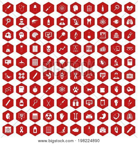 100 diagnostic icons set in red hexagon isolated vector illustration