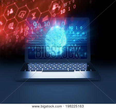 Fingerprint Scanning On Laptop Screen 3D Illustration