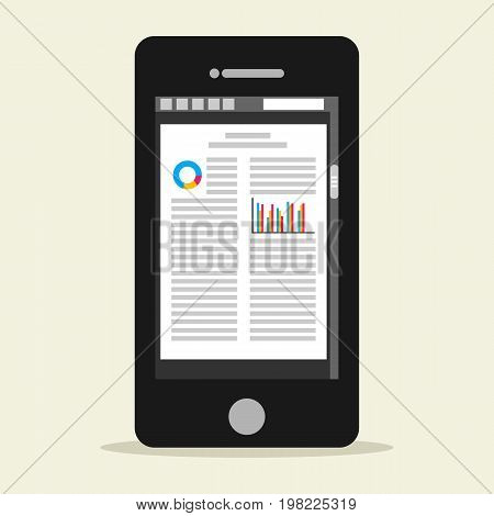E-book mobile phone concept. Digital book. Digital business documents on smart phone