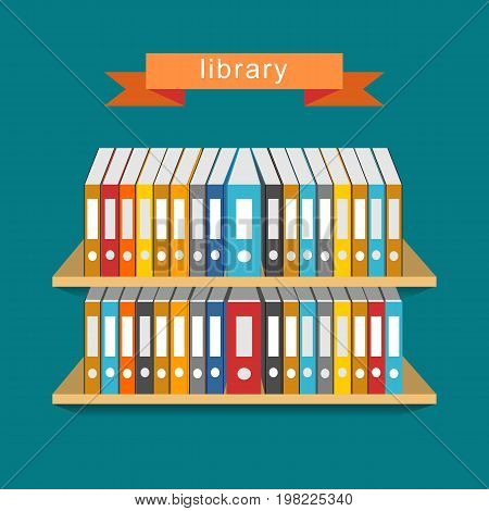 Abstract of library. Bookcase concept. Education supplies