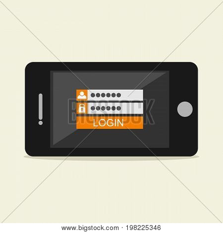 Login form . Login form on mobile phone screen illustration concept . Secure access login