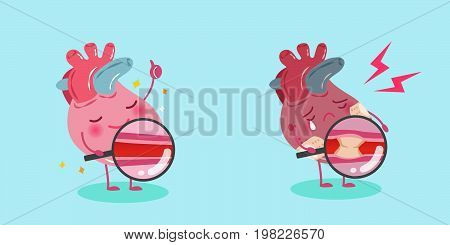 cute cartoon heart with healthy concept on blue background