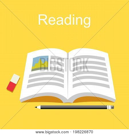 Reading book concept. Study and literature. Education background.