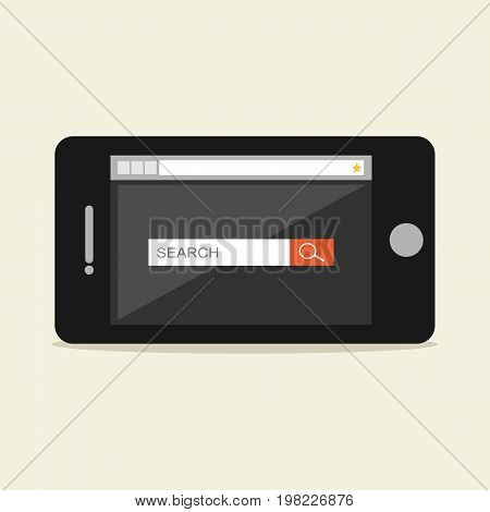 Search form on phone screen illustration. Search engine
