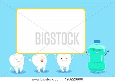 cute cartoon tooth take bullboard with mouthwash on blue background