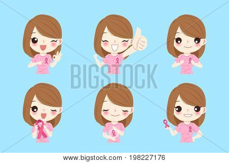 women with breast cancer concept on the blue background