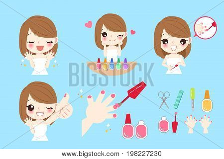 cartoon woman with nail beauty on blue background
