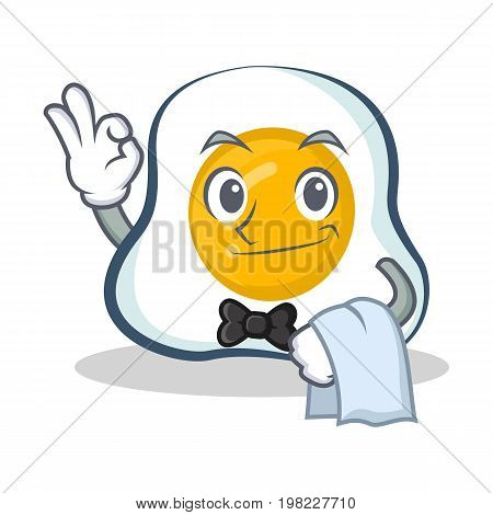 Waiter fried egg character cartoon vector illustration collection
