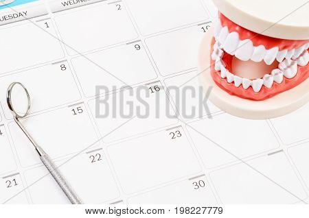Dental appointment concept. Idea with Generic dental teeth model and dental mirror on a calendar with space for text.