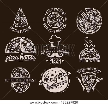 Pizza Label Design Typographic Set. Pizza festival or pizzafest. Vintage food pizza logos templates for restaurant. Vector Illustration.