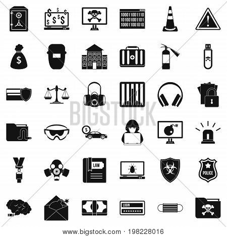 Computer crime icons set. Simple style of 36 computer crime vector icons for web isolated on white background