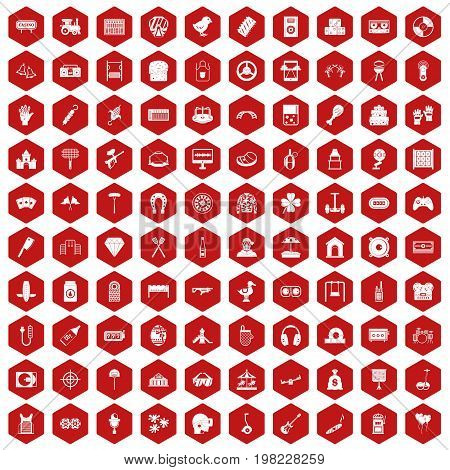 100 entertainment icons set in red hexagon isolated vector illustration