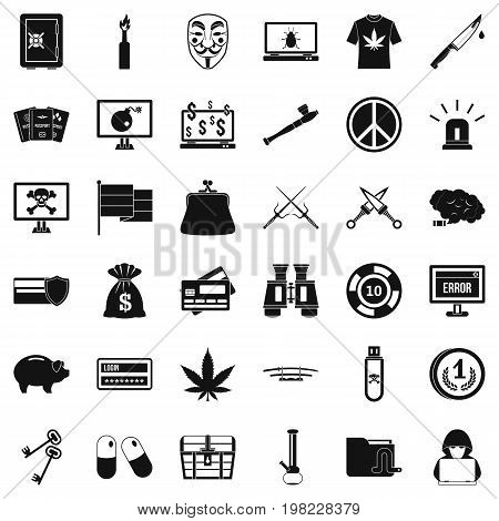 Criminal virus icons set. Simple style of 36 criminal virus vector icons for web isolated on white background