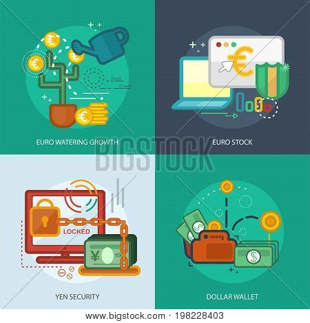 Currencies Conceptual Design | Set of great flat design illustration concepts for currency, business, finance and much more.