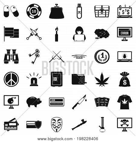 Criminal money icons set. Simple style of 36 criminal money vector icons for web isolated on white background
