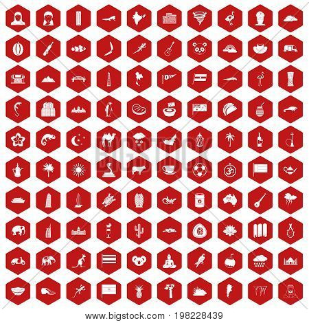 100 exotic animals icons set in red hexagon isolated vector illustration