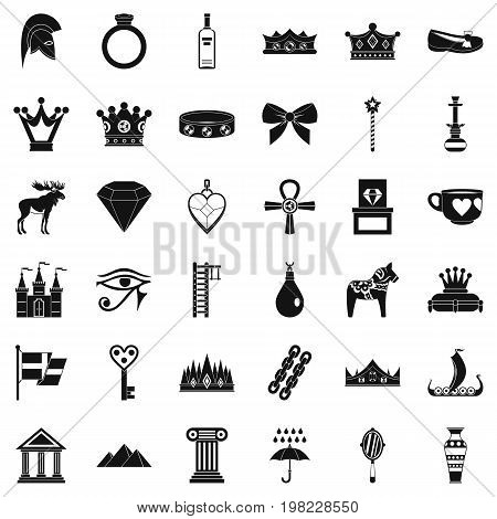 Rich crown icons set. Simple style of 36 rich crown vector icons for web isolated on white background