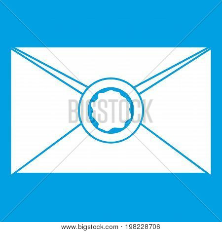 Envelope with red wax seal icon white isolated on blue background vector illustration