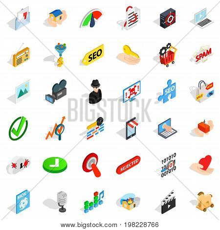 Cyber security icons set. Isometric style of 36 cyber security vector icons for web isolated on white background