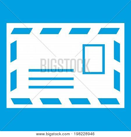 Postage envelope with stamp icon white isolated on blue background vector illustration