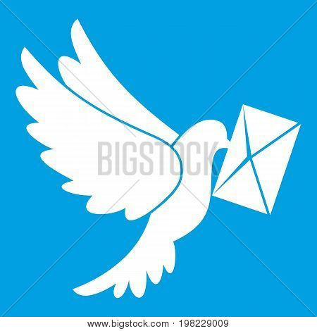 Dove carrying envelope icon white isolated on blue background vector illustration