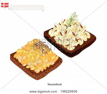 Danish Cuisine, Illustration of Smorrebrod or Traditional Buttered Rye Bread or Dark Rye Bread Topped with White Bean Sauce and Fresh Dill. The National Dish of Denmark.