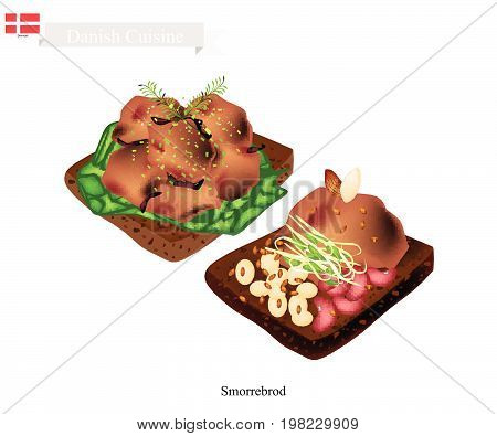 Danish Cuisine, Illustration of Smorrebrod or Traditional Buttered Rye Bread or Dark Rye Bread Topped with Roast Meat, Fresh Dill and Sauteed Bean. The National Dish of Denmark.