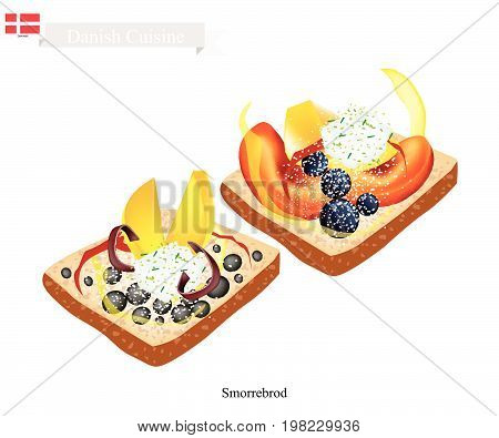 Danish Cuisine, Illustration of Smorrebrod or Traditional Buttered Rye Bread or Dark Rye Bread Topped with Fresh Fruit. The National Dish of Denmark.