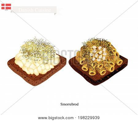 Danish Cuisine, Illustration of Smorrebrod or Traditional Buttered Rye Bread or Dark Rye Bread Topped with Macaroni and Herb. The National Dish of Denmark.