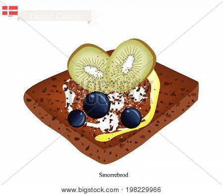Danish Cuisine, Illustration of Traditional Buttered Rye Bread or Dark Rye Bread Topped with Slice Kiwi and Cheese. The National Dish of Denmark.