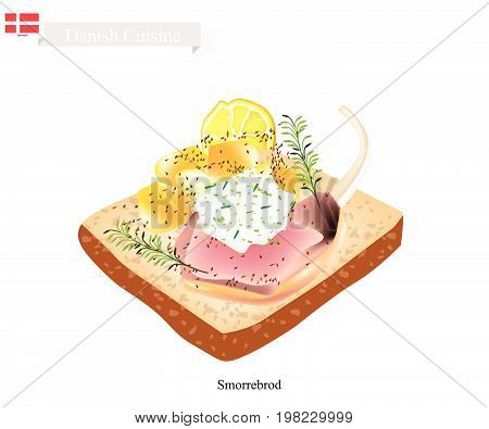Danish Cuisine, Illustration of Smorrebrod or Traditional Buttered Rye Bread or Dark Rye Bread Topped with Roasted Lamb, Tartar Sauce and Dill. The National Dish of Denmark.
