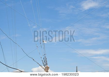 plastic bag stick sling mount antenna with blue sky with cloud concept of hope new start Fresh