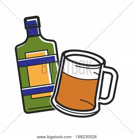 Vector illustration of glass of beer and liquor bottle.