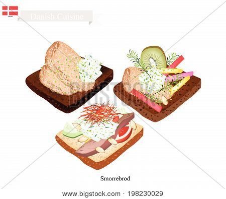 Danish Cuisine, Illustration of Smorrebrod or Traditional Buttered Rye Bread or Dark Rye Bread Topped with Roast Pork, Tartar Sauce, Fresh Fruit and Vegetable. The National Dish of Denmark.