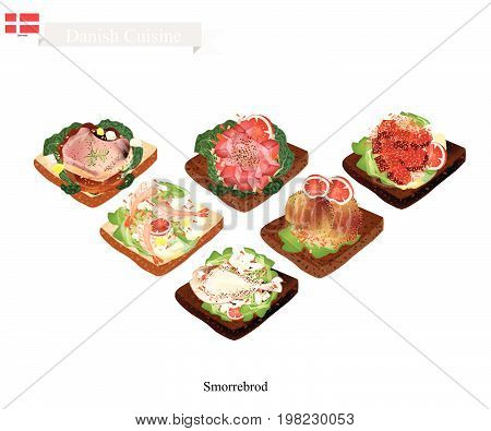 Danish Cuisine, Illustration of Smorrebrod or Traditional Buttered Rye Bread or Dark Rye Bread Topped with Many Kind of Meat and Vegetable. The National Dish of Denmark.